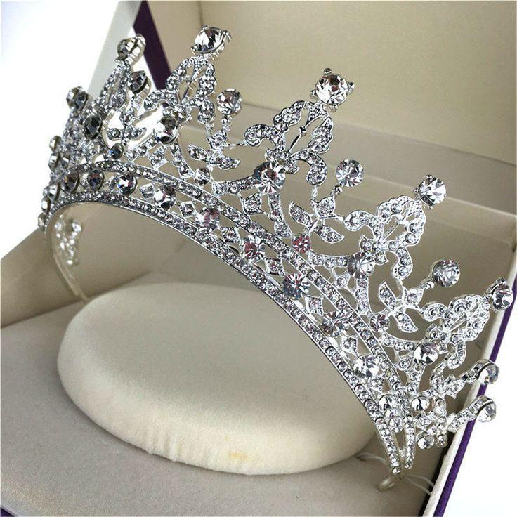 Bride Crystal Rhinestone Crown Vintage Wedding Bridal Headband QueenTiara Hair Accessories