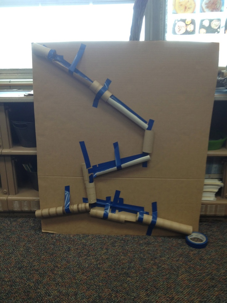"Look at Mrs. Myers' Kindergarten's fab marble run ("",)"