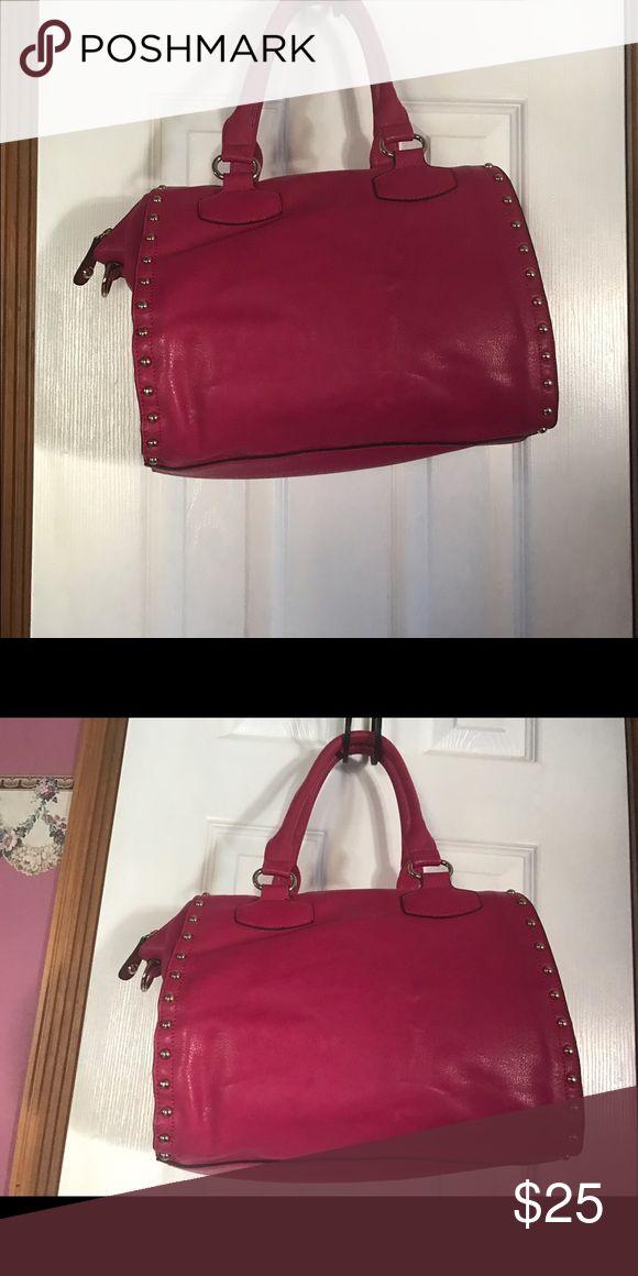 "Hot Pink tote bag Hot Pink shoulder bag with gold hardware 13"" W X 10"" L X 6 1/2"" D Bags Shoulder Bags"