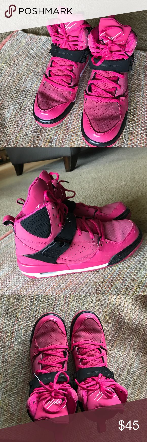 Jordan Flight shoes Teens/women size 7 Y been sitting in closet for about 2 years now. Worn a couple of times. They are the pink flight breast cancer edition. (NO TRADES!!! NO RETURNS!!!!! NONE AT ALL!!!) Jordan Shoes Sneakers