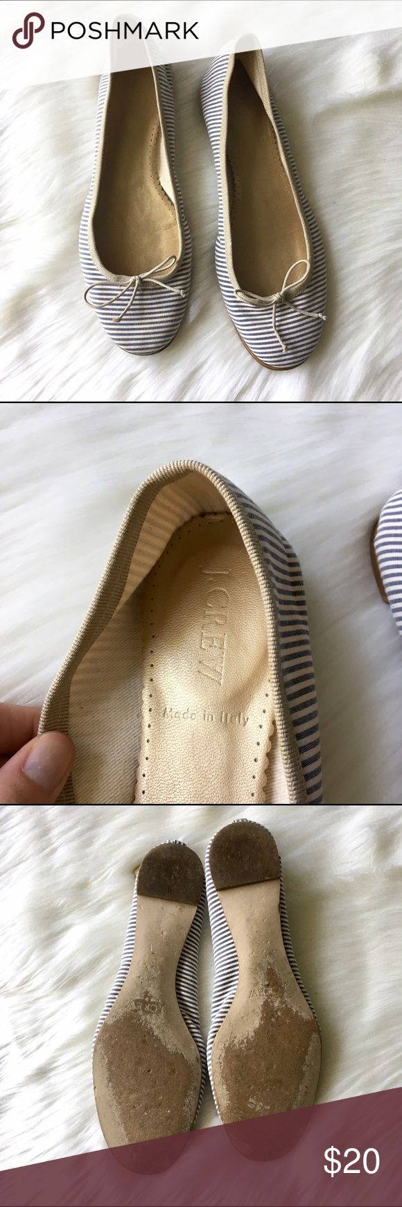 """J. Crew Striped Ballet Flats - Sz 6 Classic striped ballet flats from J. Crew in GUC! Fabric upper; leather lining and sole. Features light blue stripes against cream background with beige trim and bows. Beautiful condition; primary signs of wear are on bottoms of shoes (pictured). 1/4"""" heel. So cute for spring! Questions welcome! J. Crew Shoes Flats & Loafers"""