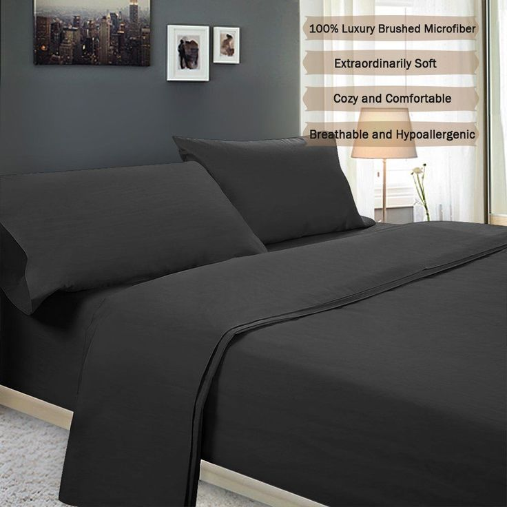 Black Microfiber Queen Bedding Set Bed Sheet Hypoallergenic 4 pc Luxury Soft NEW #Unbranded