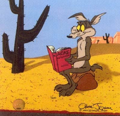 Wile E. Coyote checks out the latest ACME catalog.