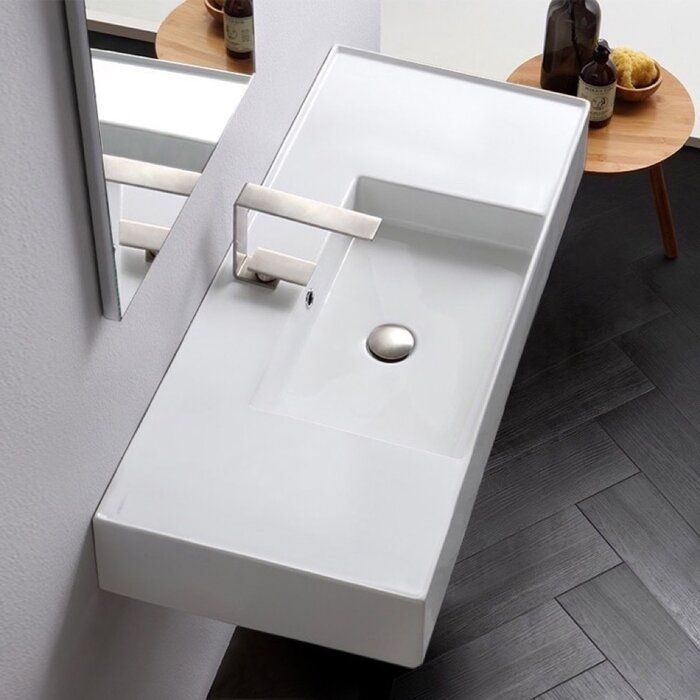 Ceramic 40 Wall Mounted Bathroom Sink With Overflow Wall Mounted Bathroom Sinks Sink Contemporary Bathroom Sinks