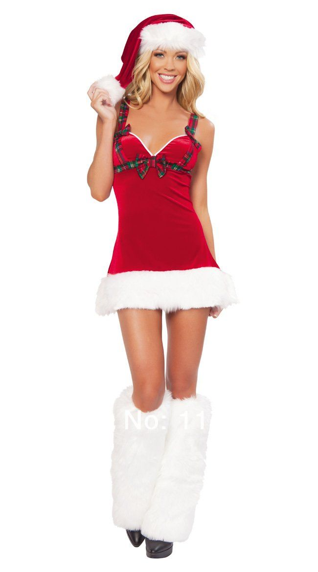 New Sexy Adult Halterneck Cute Christmas Costumes Women Santa Miss Cosplay Sexy Santa Claus Costumes for Christmas Party