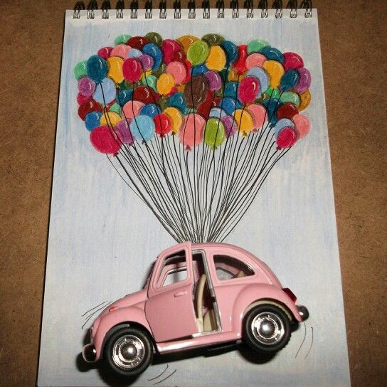 Car on the baloons