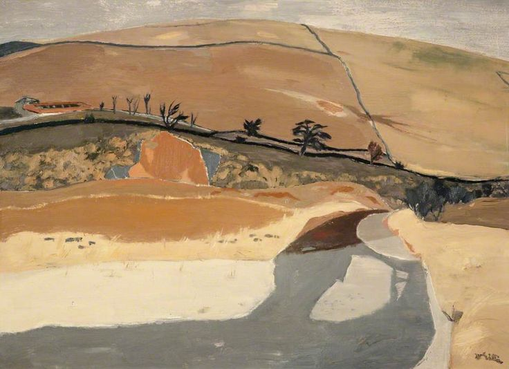 transistoradio:  William George Gillies (1898-1973), Fields and River (late 1950s), oil on canvas, 87 x 64 cm. Via BBC.