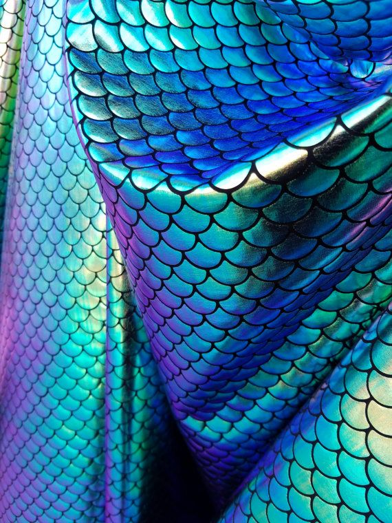 Mermaid Scale Fabric Iridecent Color { Gold/Green/Blue/Purple} on Spandex Fabric sold by Yard - Fish Scales Iridecent [Not Washable]