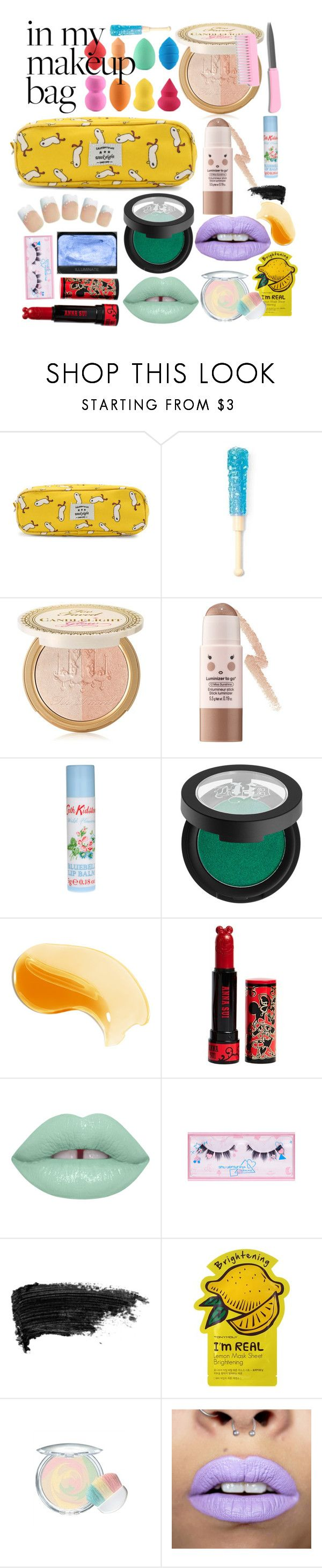"""""""god i wish that were me"""" by thrakaboom ❤ liked on Polyvore featuring beauty, Too Faced Cosmetics, Sephora Collection, Cath Kidston, Kat Von D, NARS Cosmetics, Anna Sui, Lime Crime, shu uemura and Stila"""