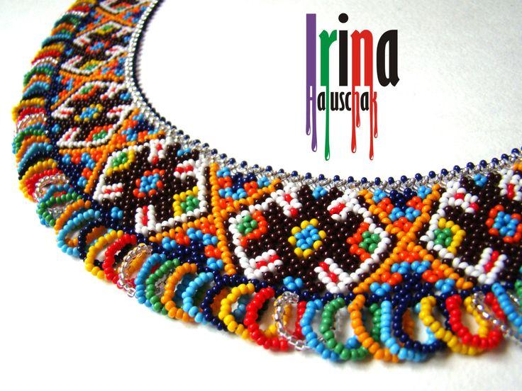 Ukrainian traditional necklace. Beaded collar. Silyanka. Seed bead necklace. by IrinaHaluschak on Etsy