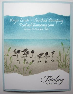card with ink transfer baby wipes | love the serene look of this ocean scene. It makes a great card for ...