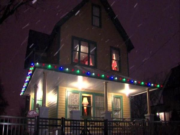 Snow falls outside the Christmas Story house in Cleveland