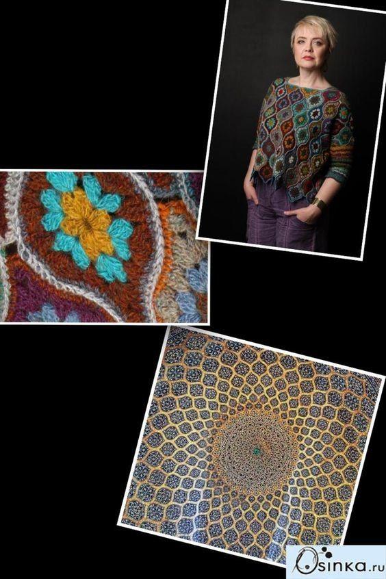 crochelinhasagulhas: Blusa com squares coloridos em crochê