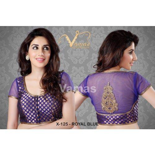 High Neck Polka Dots Saree Blouse. X125 Royal Blue . Muhenera presents vama designer collection