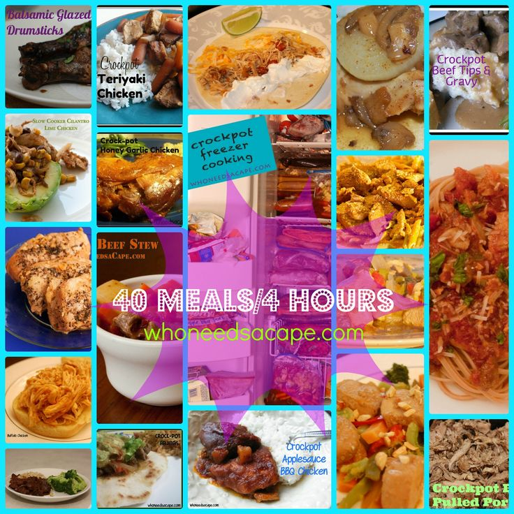 40 Meals/4 Hours Recipe Collection ~ From the Freezer to the Crockpot ~ Everything from Buffalo Chicken to Mongolian Beef to Teriyaki Chicken, you and your family will be so glad you found these recipes!  Just click on the link above each picture to go directly to that recipe!