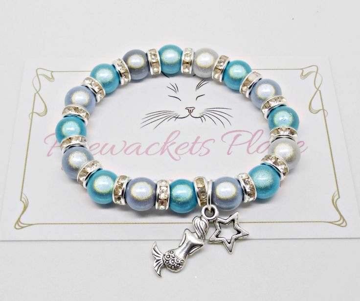 Mermaid Bracelet, Kids Bracelet, Crystal Jewellery, Mermaid Jewelry, Children's Fashion, Blue Beaded Bracelet, Mermaid Charm, Sea Theme by PyewacketsPlace on Etsy