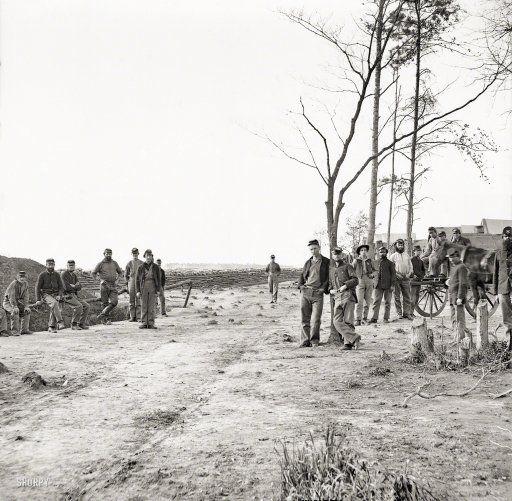 "1864-65. ""13th New York Heavy Artillery, Winter Quarters, Petersburg, Va."" Wet plate glass negative, Civil War Photographs, Library of Congress."