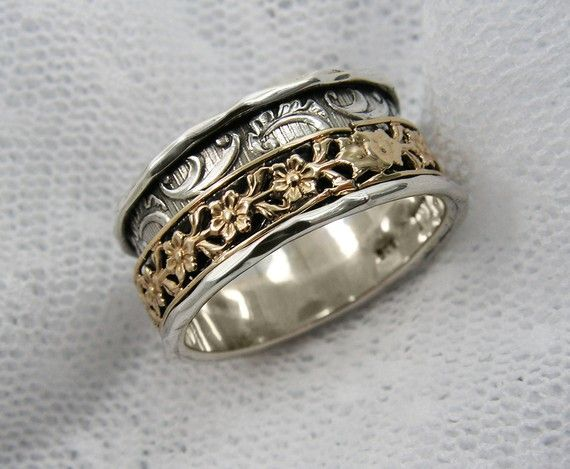 Spinner ring. Sterling silver gold floral spinner ring. by MayaOr, $183.00