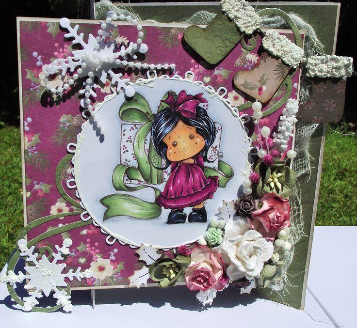 3 fold magnolia tilda christmas card