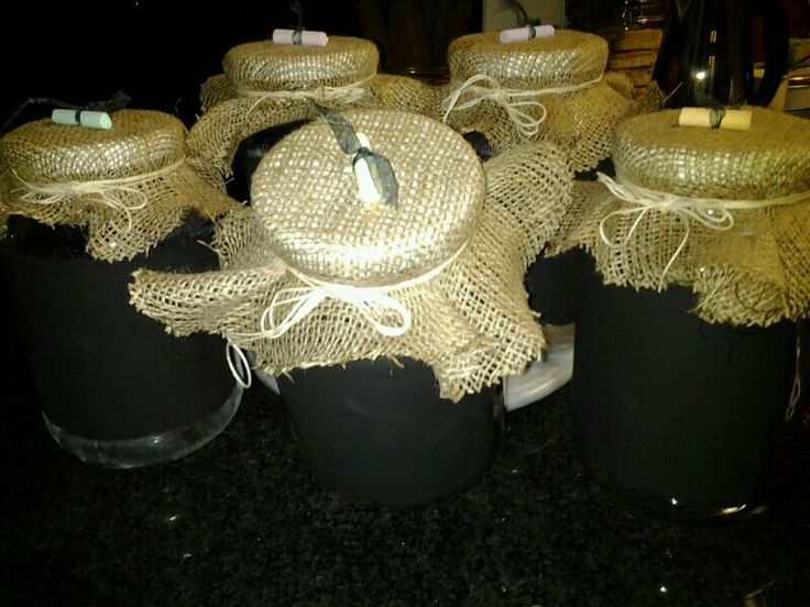 Storage jars with black board paint to use as labels to write on