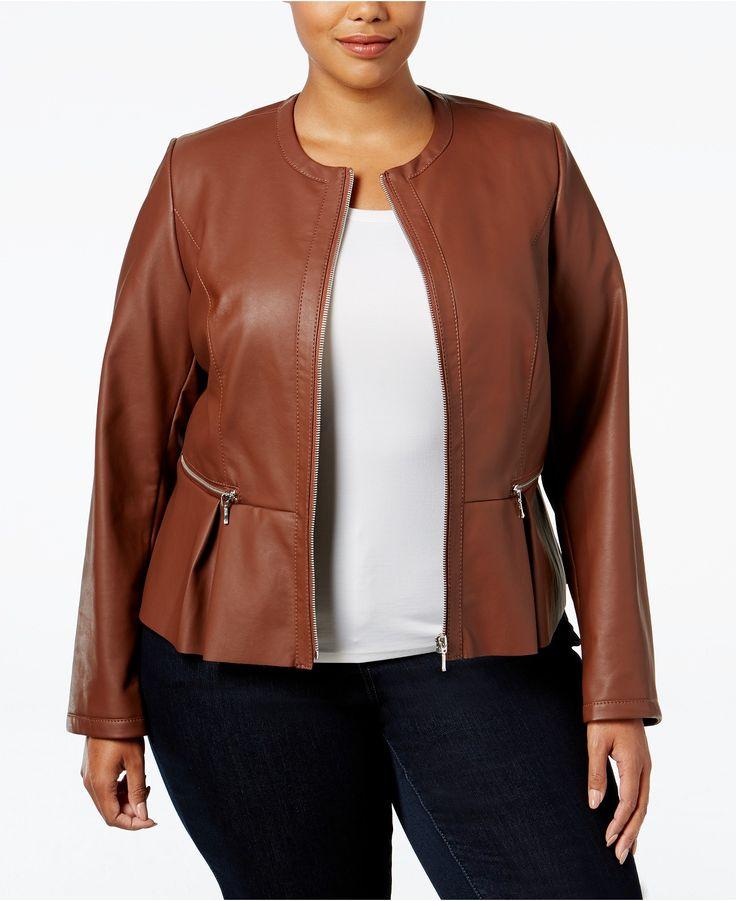 INC International Concepts Plus Size Faux-Leather Peplum Moto Jacket, Only at Macy's - Jackets & Blazers - Plus Sizes - Macy's