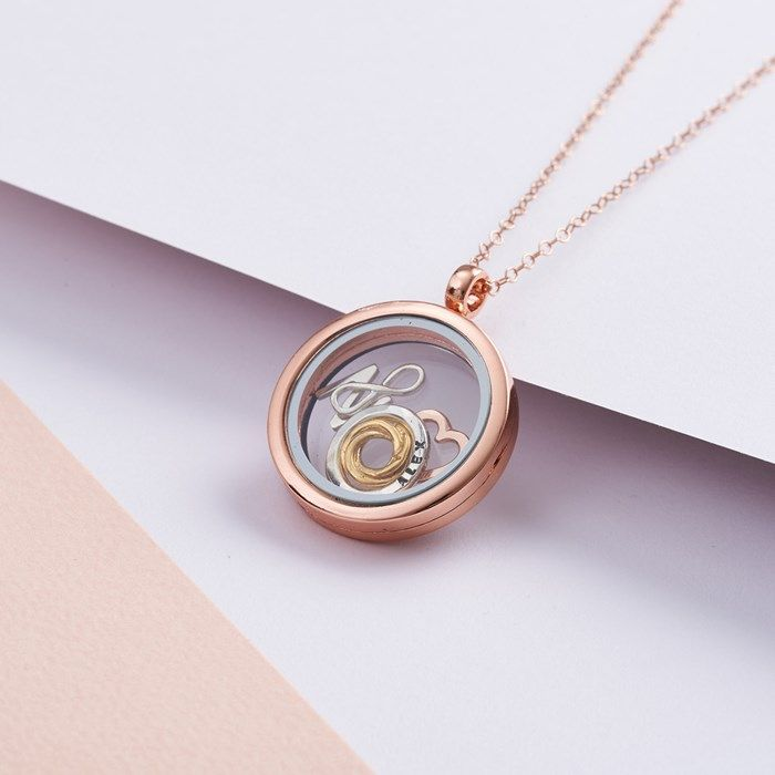 Personalised Posh Totty Designs Rose Gold Floating Necklace | GettingPersonal.co.uk