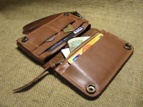 Brown Bifold Leather  iPhone wallet