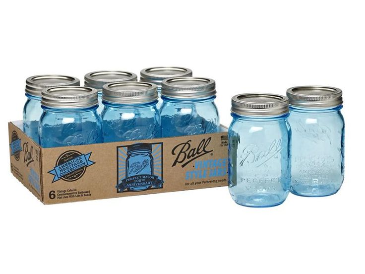 Limited-edition Ball® Heritage Collection Pint Jars in beautiful blue! The vintage-inspired jars commemorate the 100th anniversary of the Perfect Mason Jar.