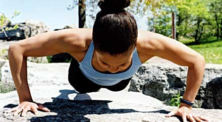 exercisng - this routine is used by female officers ...... Women: Bench press: 59 percent of body weight Sit-ups: 32 per minute Push-ups: 15 per minute ........ air force women also do: Liberator (running 2 miles) in 19:45 min.