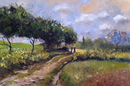 Title: 'In The Fields' (After Sisley) 30'' x 20'' Euro 790, unframed