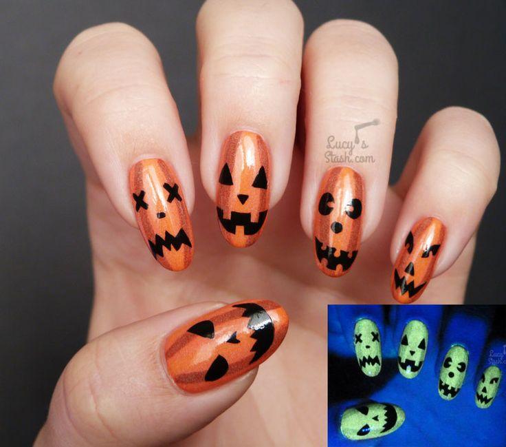 Haloween Pumkin face nails that glow in the dark +  TUTORIAL http://www.lucysstash.com/2016/10/halloween-glow-in-the-dark-pumpkin-face-nail-art-tutorial.html