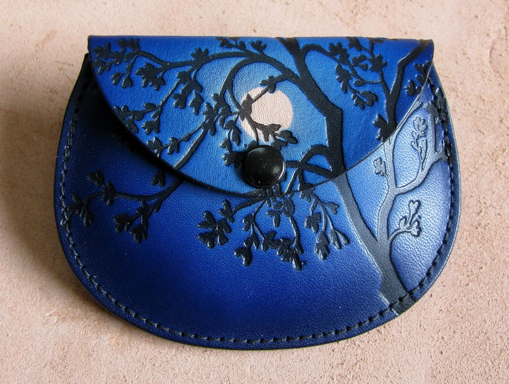 Leather coin purse  moon behind tree in blue by sunburstcrafts, $16.00