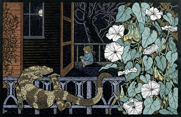 Linocuts by artist Rachel Newling of Australian wildlife, Dingo, Kangaroo,   Flying Fox, Rainforest Dragon, Water Dragon, Geckos, Lace Monitor, John   Dory fish, Green tree Frog, Fish & Green tree Python. Linocuts are for   sale as limited edition prints