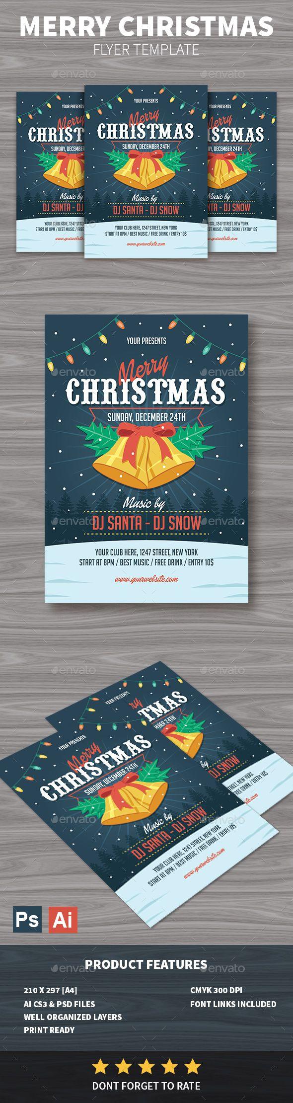 Merry Christmas Flyer Template PSD, AI Illustrator #xmas
