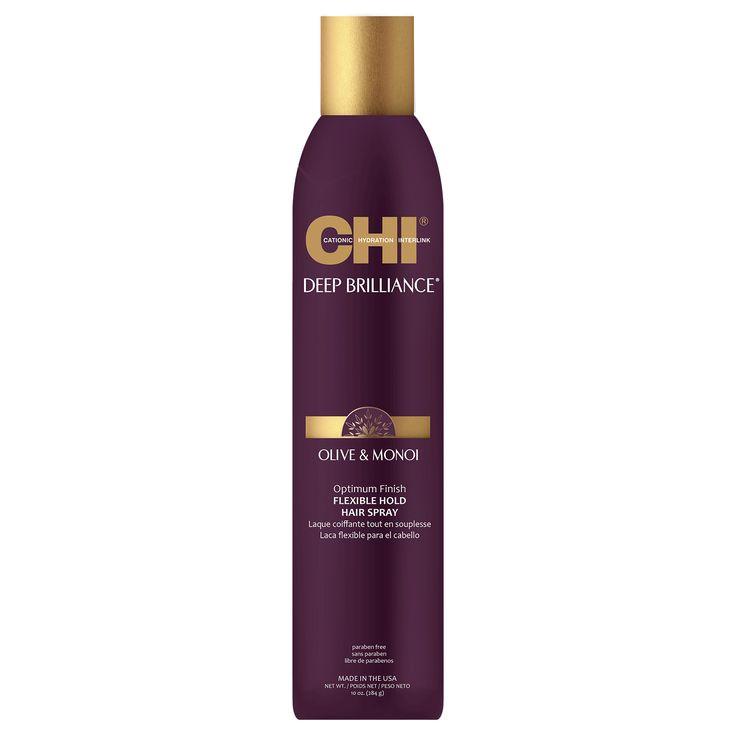 CHI Deep Brilliance Olive & Monoi Optimum Finish Flexible  Hold Hair Spray 284g.