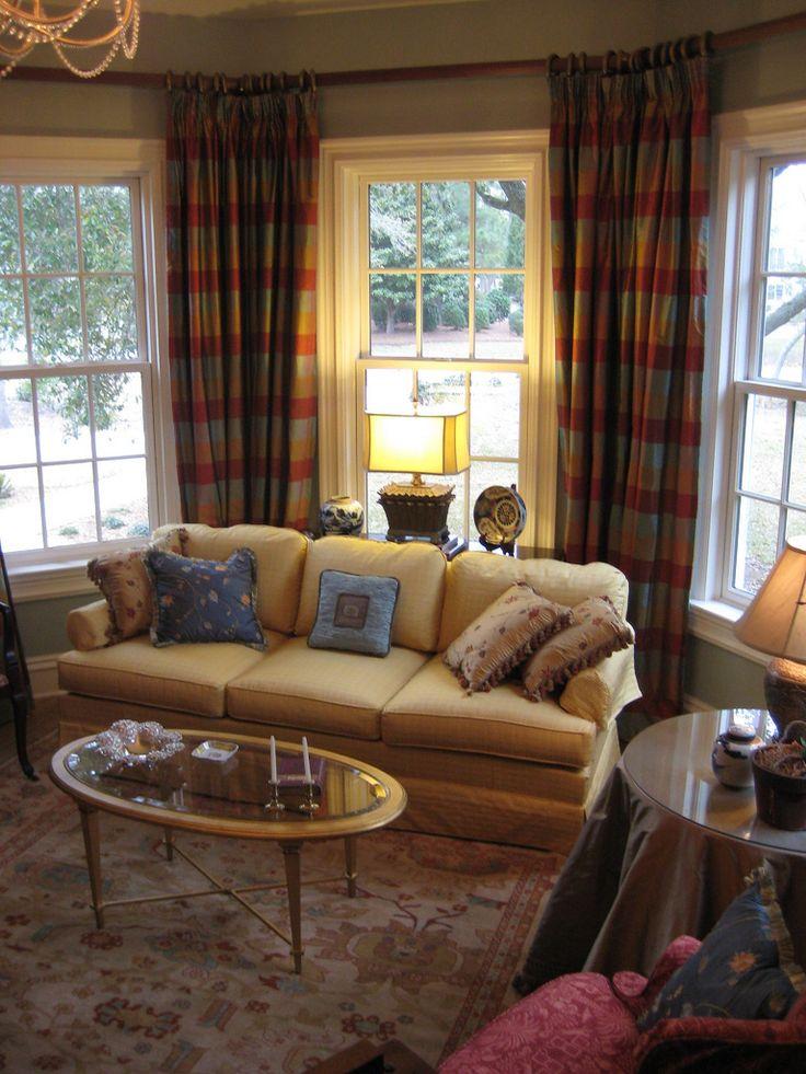 formal sitting room with silk plaid curtains custom
