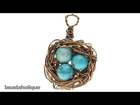 How to make bird's nest jewelry - YouTube