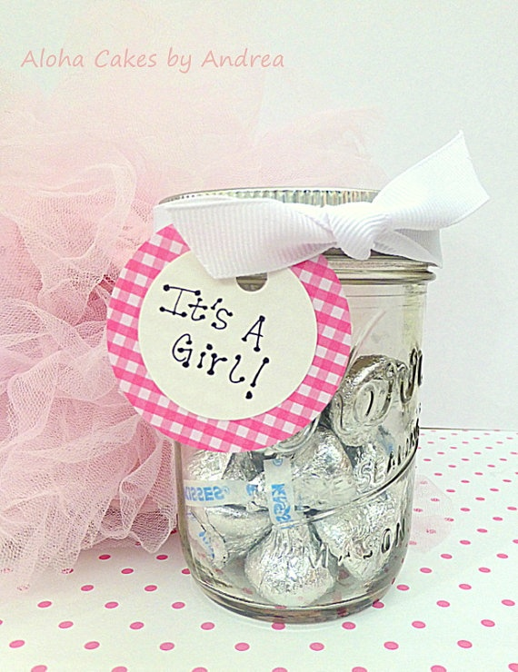 Pink And White Itu0027s A Girl Mason Jar Baby Shower Favors!