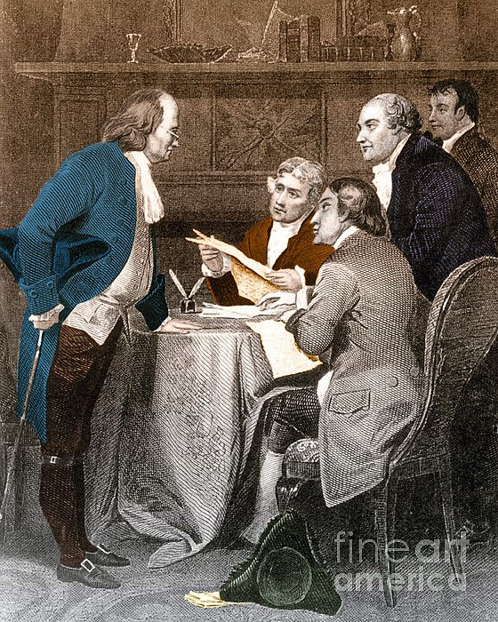 Meeting of the Declaration of Independence Committee. Pictured are Thomas Jefferson, Roger Sherman, Benjamin Franklin, Robert Livingston, and John Adams drafting the Declaration of Independence in June 1776.