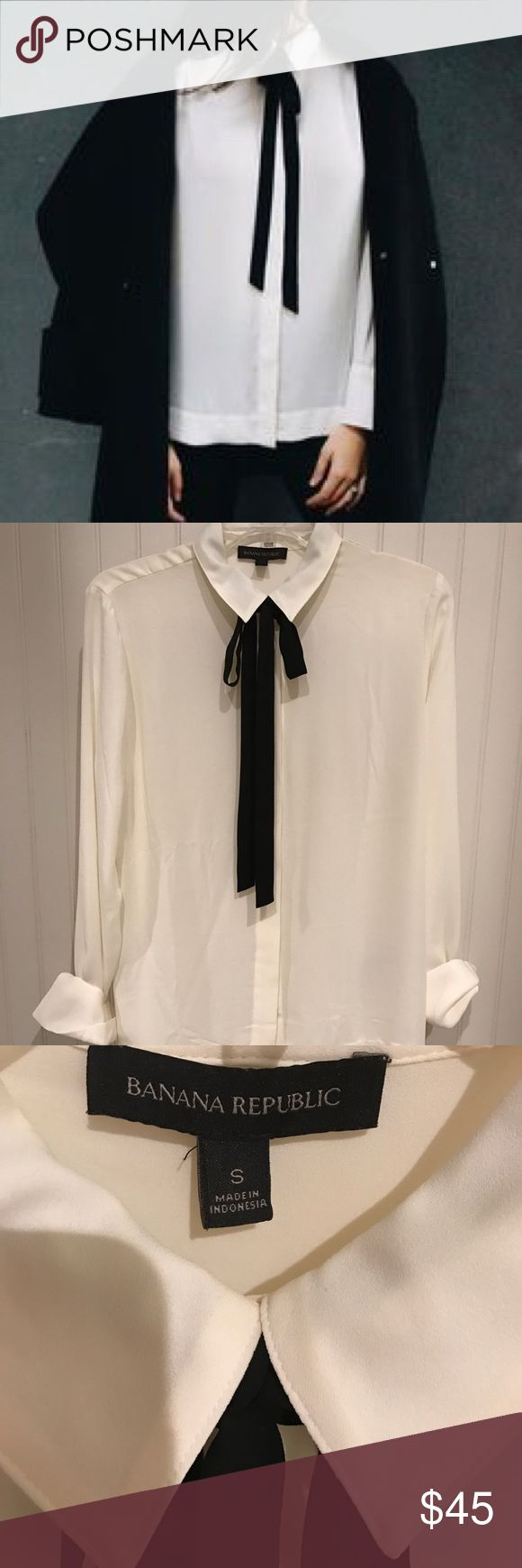 Banana Republic Contrast Tie Front Blouse Beautiful white button up blouse with black necktie. The tie can be removed with a button at the back of the neck, under the collar. Slits at the side and a slight hi-low hem. Worn once. Perfect condition! Size small. Banana Republic Tops Blouses