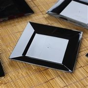 10 Pack Black Chambury Plastic Square Shaped Disposable Plate For Wedding Party Event Dinnerware - 6.5""