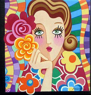 Chica Abrazado por Flores I por Mariangeles Puente Duran