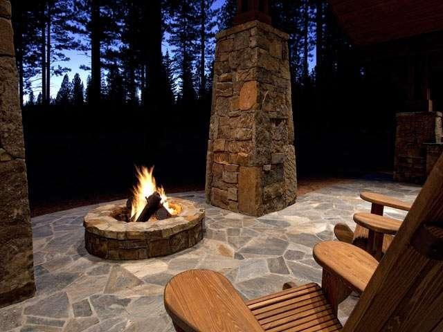 Stone patio with fire pit -