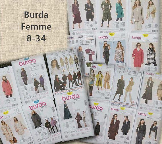 Burda, Femme, 8-34, manteau, veste, jacket, cape, neuf, non coupé, Promo: 25ETSY45, voir détails