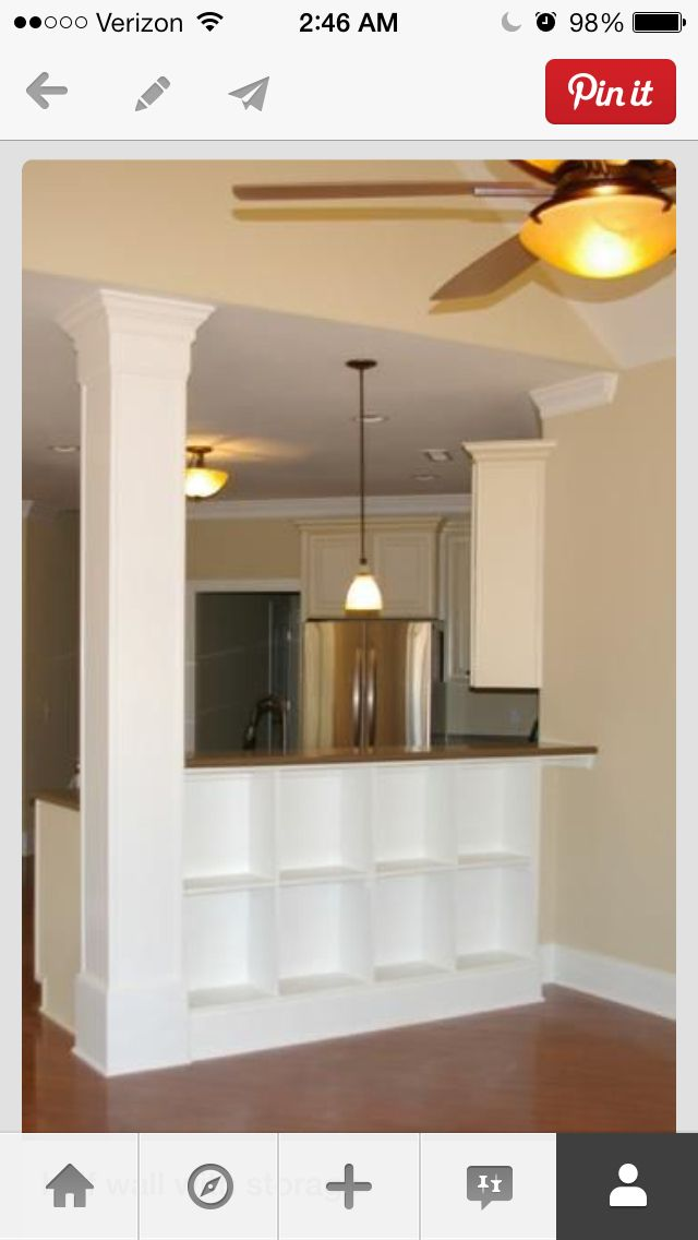 Find This Pin And More On Columns, Interior Decorating, Half Wall,  Bookshelf.