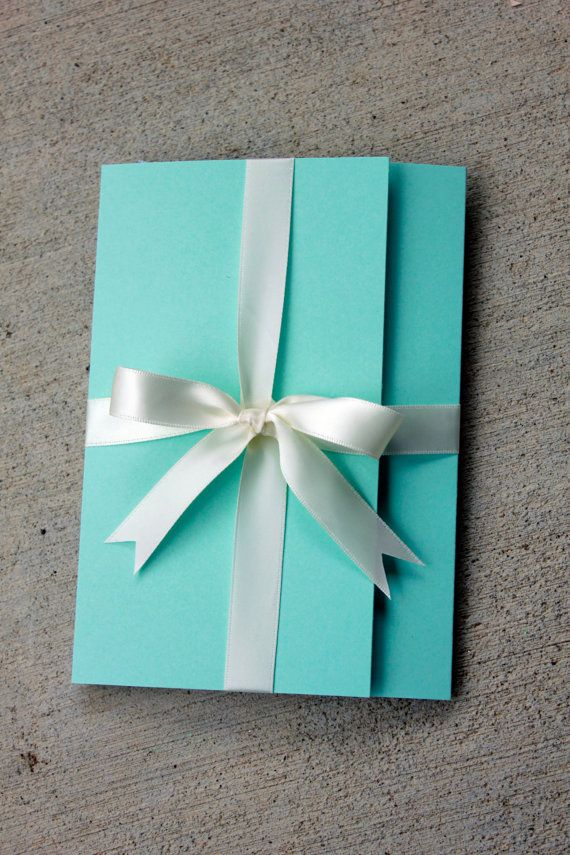 Blue Wedding Invitation Blue with White Ribbon by SweetSights