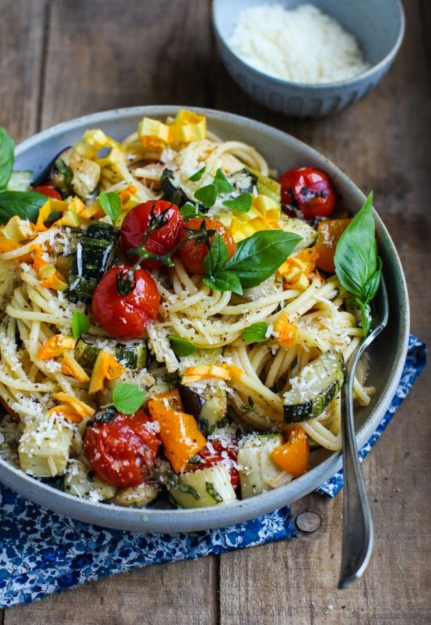 Easy Roasted Vegetable Spaghetti by simplebites: Eat seasonal.  #Pasta #Veggies