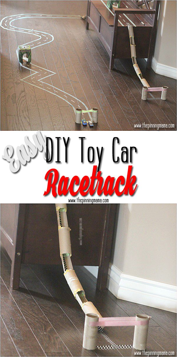 Such a GREAT idea! My kids would love this rainy day activity! DIY hot wheels race track!  You only need 3 things to make it. #caretorecycle #sponsored