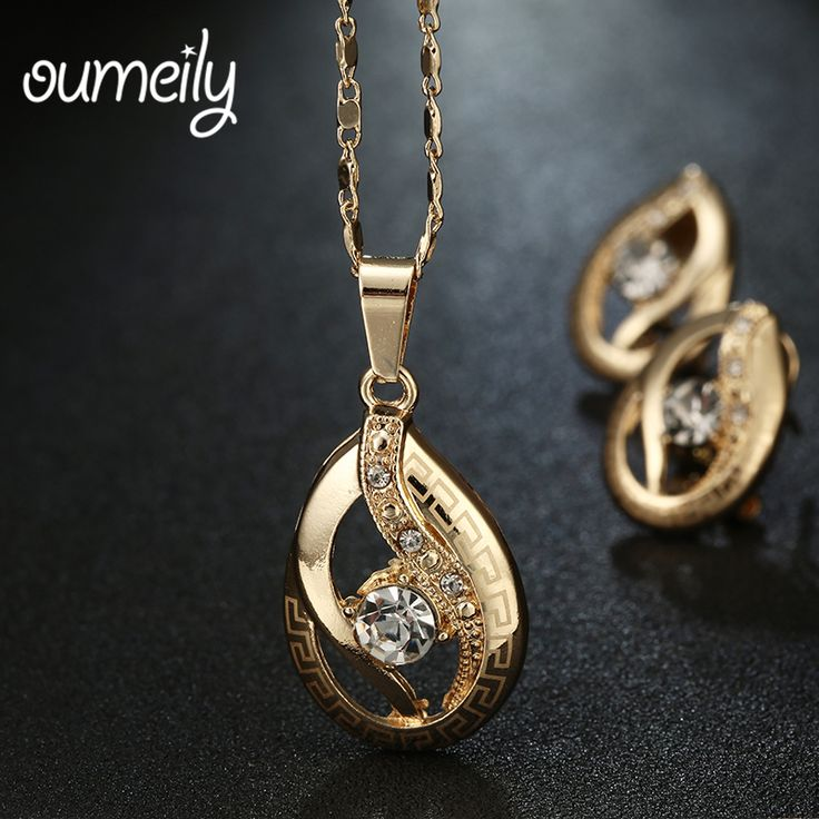 OUMEILY Wedding Bridal Jewelry Sets For Women African Beads Earrings Necklace Imitation Crystal Gold Plated Dress Accessories