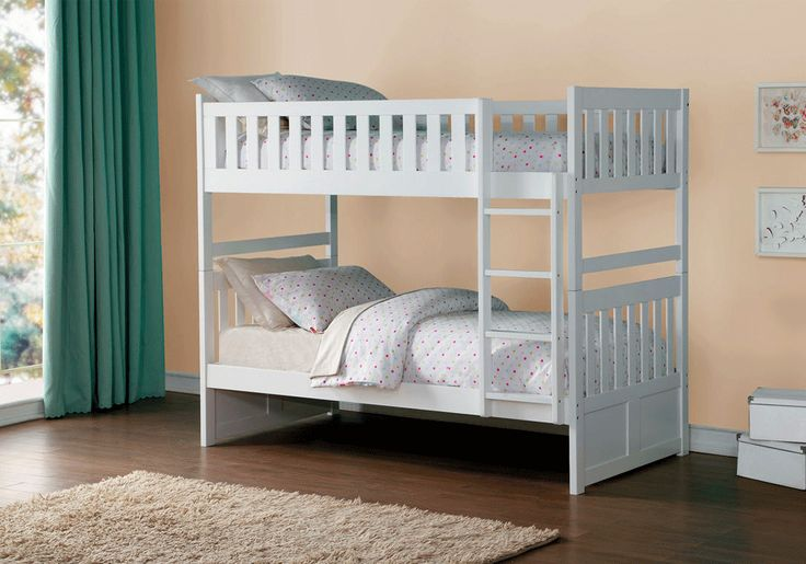 Galen Twin/Twin Bunk BedThe Galen Collection has options that allow for the perfect placement within your child's bedroom. This transitional bedroom group is featured in a clean snow finish making it an appropriate choice for a number of youth bedroom settings. Available in multiple configurations and features.*The price does not include mattress, boxsprings or bed linens.*Multiple add on features available with bunk bed.